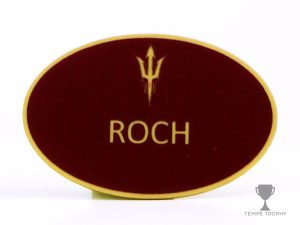 Custom engraved name badge for ASU with magnetic back, engraved by Tempe Trophy