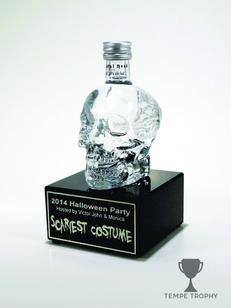 Skull Liquor Bottle on Black Marble Base