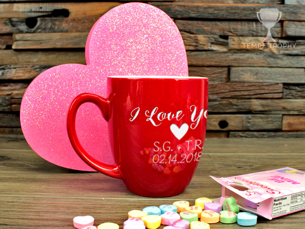 "Engraved red mug that says ""I love you"""