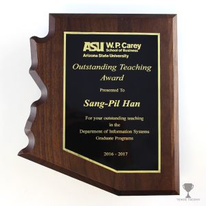 Arizona Shaped walnut plaque engraved by Tempe Trophy for ASU WP Carey School of Business.