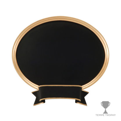 Black Oval with Gold Ribbon and Border Engraved Gold