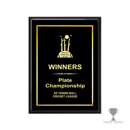 Piano Finish Black Plaque with Black Gold Engraved Plate