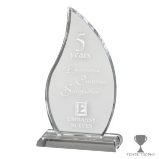 Clear Acrylic Flame Award Engraved
