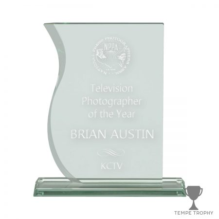 Wave Front Leafy Sea Green Glass Award