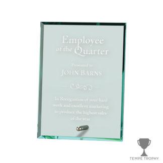 Portrait Glass Stand Award Jade Green