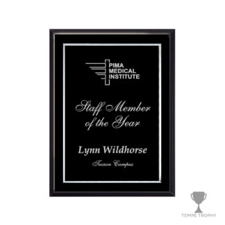 Piano Finish Plaque with Black Silver Engraved Plaque