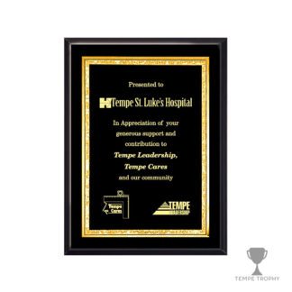 Black Piano Finish Plaque with Decorated Gold Plate