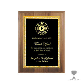 Classic Brown Plaque with Gold Decorative Plate