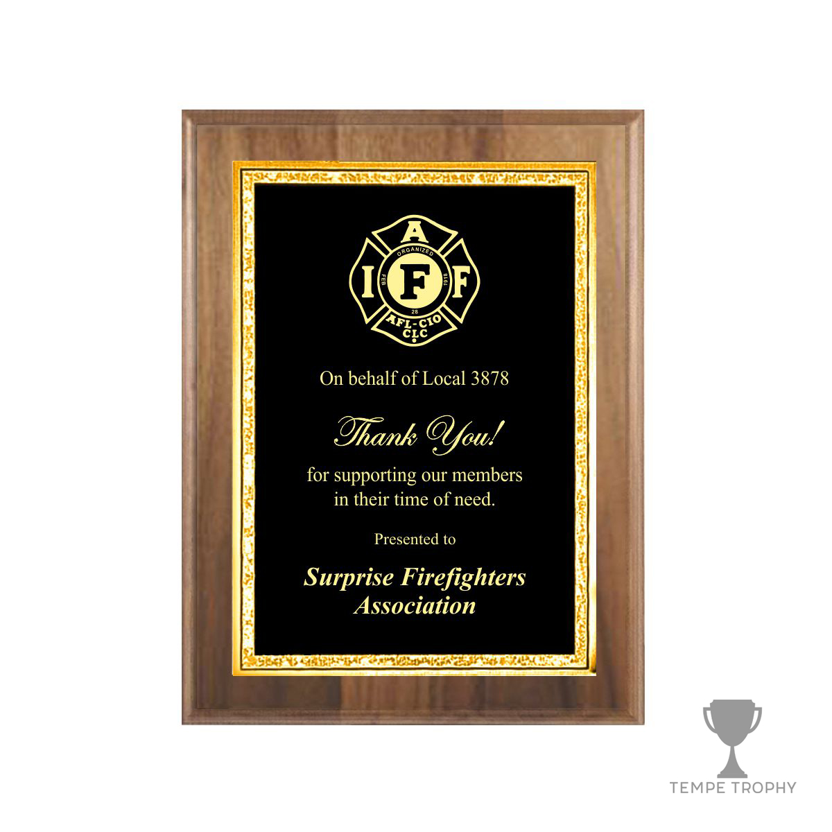 Classic Brown Plaque with Gold Decorative Plate  sc 1 st  Tempe Trophy & Classic Brown Walnut Plaque with Gold Decorative Plate | Tempe Trophy