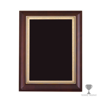 Large Dark Brown Beveled Plaque with Decorative Gold Plate