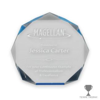 Blue Acrylic Octagon Award